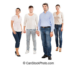 Confident Businesspeople Standing Against White Background