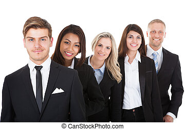 Confident Businesspeople Standing In A Row