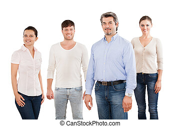 Confident Businesspeople Standing Over White Background