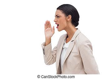 Confident businesswoman calling for