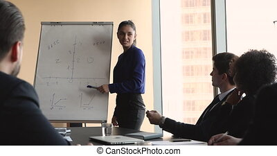 Confident businesswoman coach give business presentation at corporate training