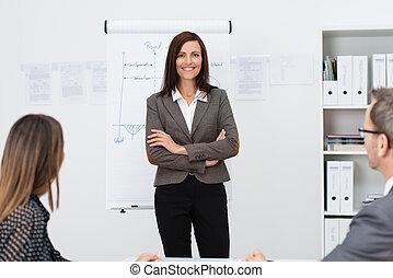 Confident businesswoman giving a presentation