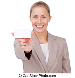 Confident businesswoman holding a white card