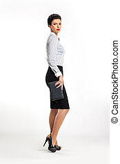 Confident businesswoman secretary with handbag sideways -...