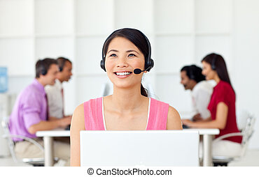 Confident Businesswoman with headset on