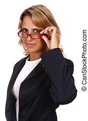 Business woman portrait, holding a glasses.
