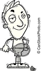 A cartoon illustration of a man badminton player looking confident.
