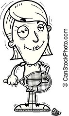 A cartoon illustration of a woman badminton player looking confident.