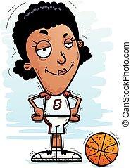 Confident Cartoon Black Basketball Player