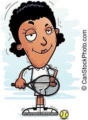 Confident Cartoon Black Tennis Player