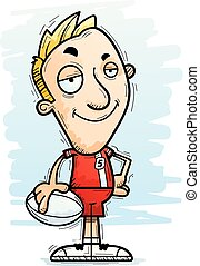 Confident Cartoon Rugby Player