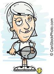 Confident Cartoon Senior Tennis Player
