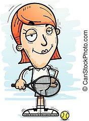 Confident Cartoon Tennis Player