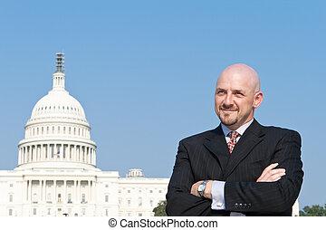 Confident Caucasian Man Lobbyist Suit US Capitol
