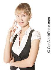 Confident caucasian woman on phone