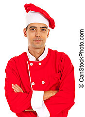 Confident chef standing with arms folded isolated on white...
