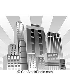 Confident City - Vector illustration of modern city in grays...
