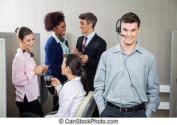 Confident Customer Service Representative Wearing Headphones