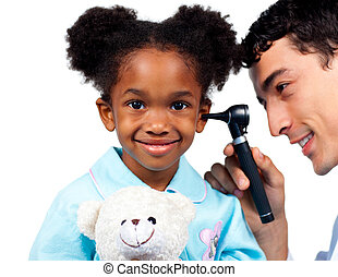 Confident doctor examining his young patient against a white background