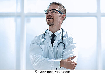 confident doctor looking at copy space