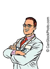 Confident doctor. Medical profession