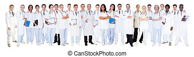 Confident Doctors Against White Background - Panoramic shot...