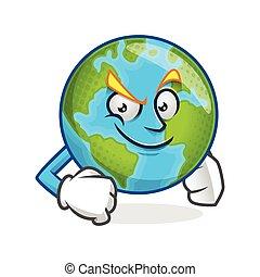 Confident earth mascot, earth character, earth cartoon vector
