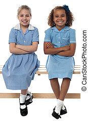 Confident elementary school girls