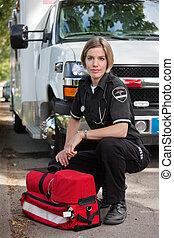 Confident EMS Paramedic Woman - Confident EMS paramedic...