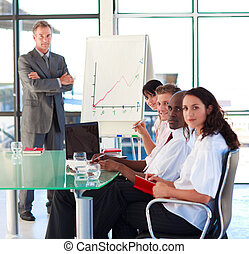 Confident enior businessman in a presentation