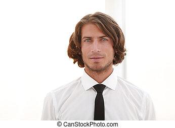 Confident fashionable male model.