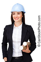 Confident female architect with a hardhat