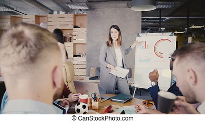 Confident female boss presenting new project goals. Happy...