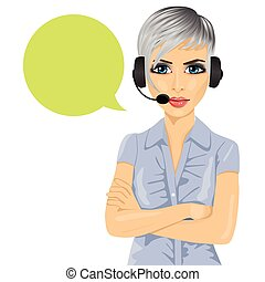 confident female customer support phone operator with arms folded and speech bubble