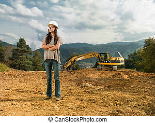 confident female engineer - female engineer standing with ...