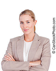 Confident female executive with folded arms