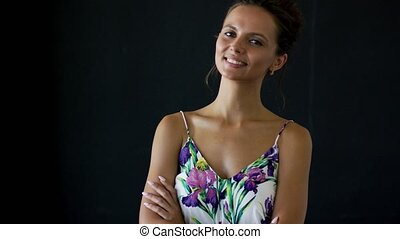 Confident female in patterned outfit - Cute young lady in...