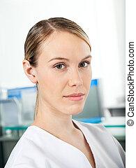 Confident Female Researcher