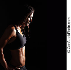 Confident fitness woman in sports clothing - Image of ...
