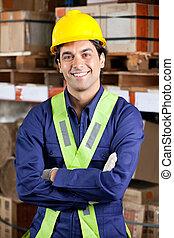 Confident Foreman At Warehouse - Portrait of a confident...