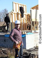 Confident foreman on a construction site