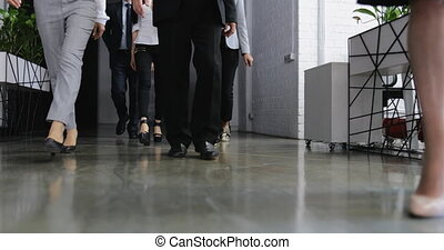 Confident Group Of Business People Go In Modern Office,...