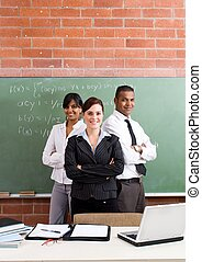 group of teachers - confident group of teachers in their...