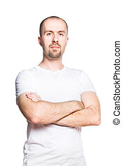 Confident handsome man in white t-shirt isolated on white