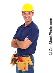 confident handyman crossed arms - confident handyman arms...