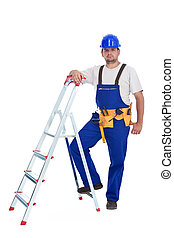 Confident handyman leaning on a ladder