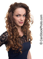 confident happy woman with curly hair