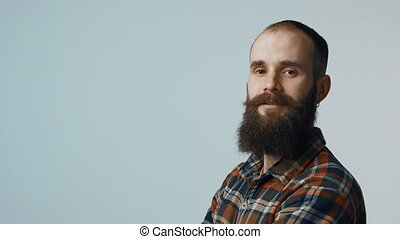 Confident hipster bearded man - Closeup of confident bearded...