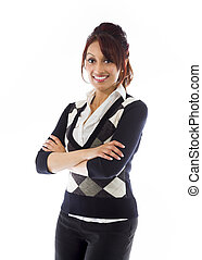 Confident Indian businesswoman standing with arms crossed