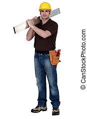 Confident laborer on white background